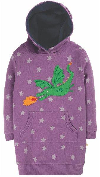 Frugi Harriet Hoody Dress Thistle Star/Dragon