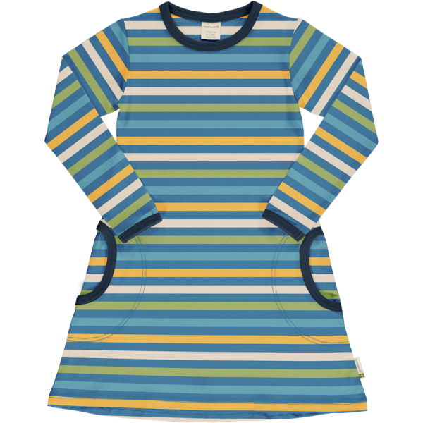 Maxomorra Dress LS Stripe Ocean