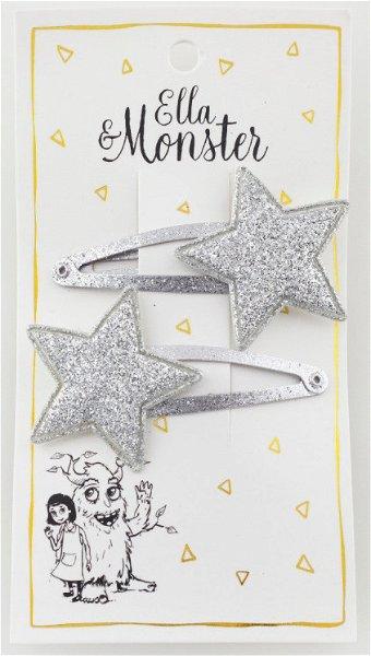Ella & Monster Silver Glitter Star Haarspangen