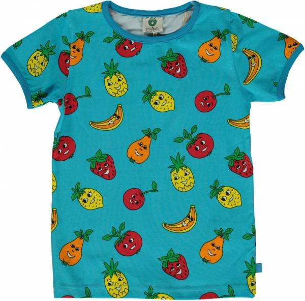 Smafolk T-Shirt with Fruits, Blue Atoll