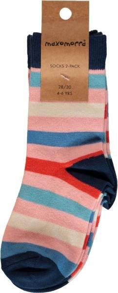 Maxomorra Socks 2-pack Stripe Blossom