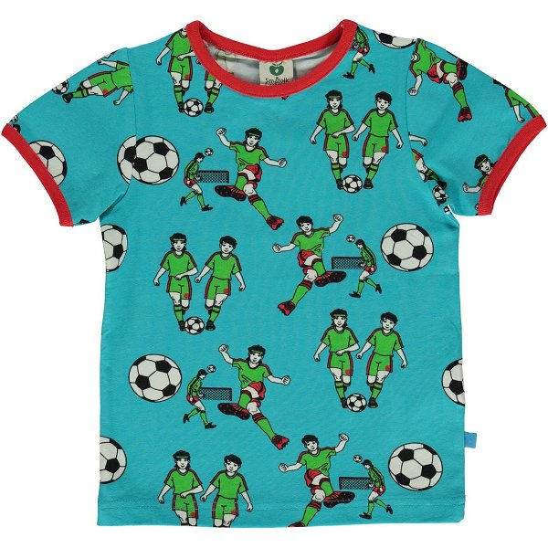 Smafolk T-shirt with Football, Blue Atoll