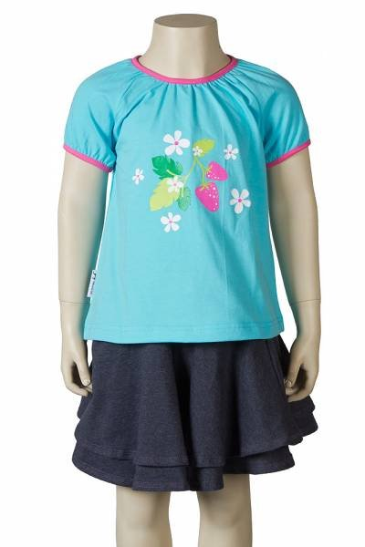 JNY colourful kids Puffy Shirt SS Strawberry Turquoise