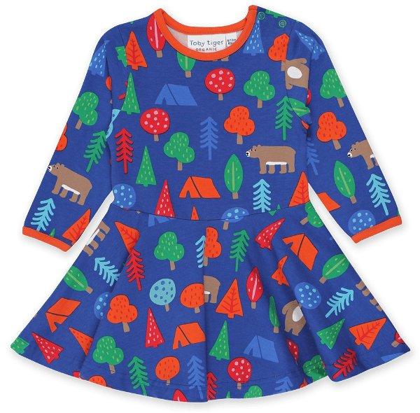 Toby tiger Organic Camping Bear Print LS Skater Dress