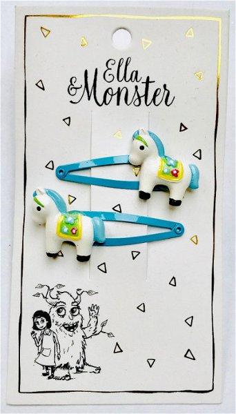 Ella & Monster Blue Horse Haarspangen