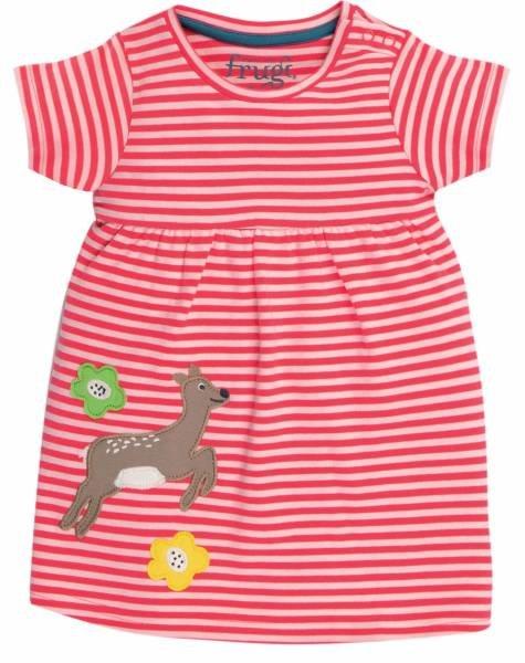 Frugi Jade Jersey Dress Watermelon Stripe Deer
