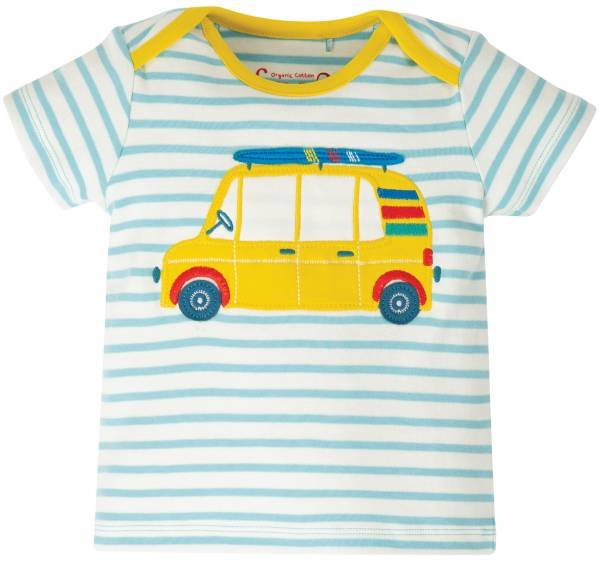 Frugi Bobster Applique Top Bright Sky Breton Car