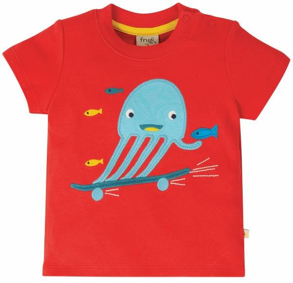 Frugi Little Creature Applique Top Koi Red Jellyfish