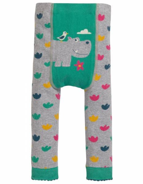 Frugi Little Knitted Leggings Grey Marl Hippo