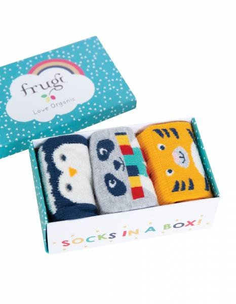 Frugi Paw-some Socks In A Box Cosy Creatures Multipack