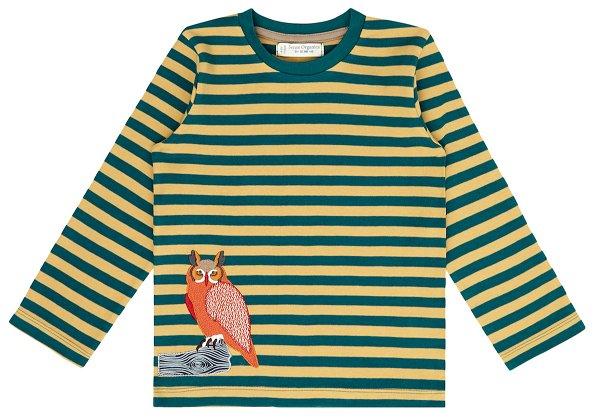 Sense Organics Malthe Shirt LS Teal Curry Stripes Owl