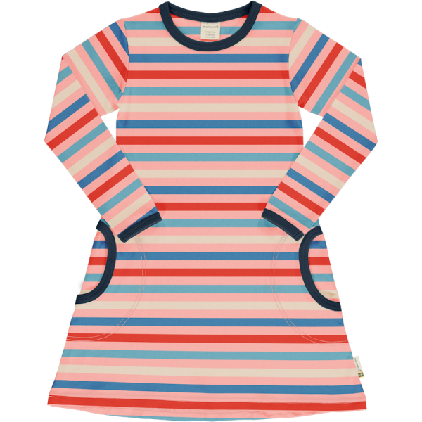 Maxomorra Dress LS Stripe Blossom