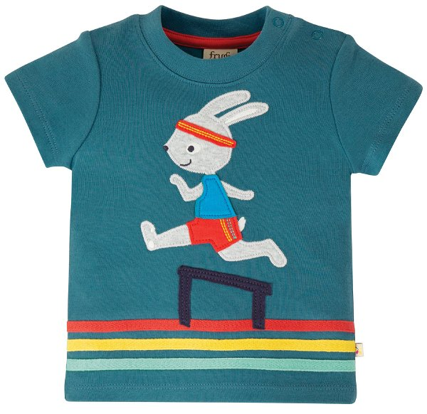 Frugi Little Creature Applique Top Steely Blue Bunny