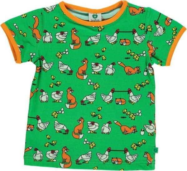 Smafolk T-Shirt with chicken-fox, green