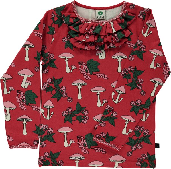 Smafolk T-Shirt LS Mushrooms Ruffles Dark Red