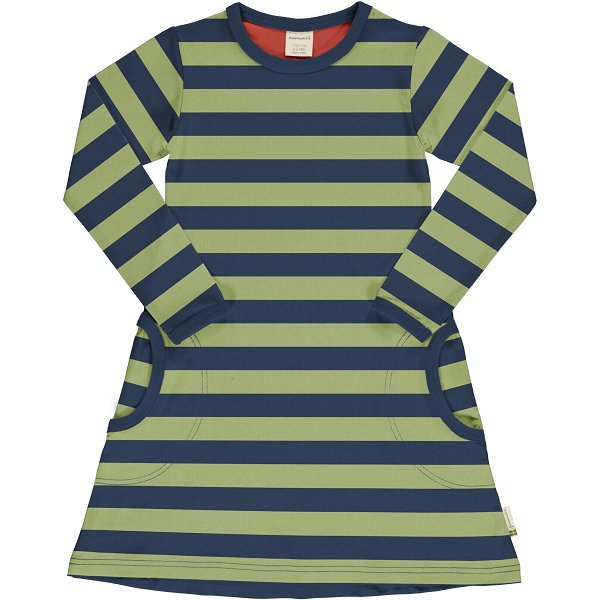 Maxomorra Dress LS Stripe Fern