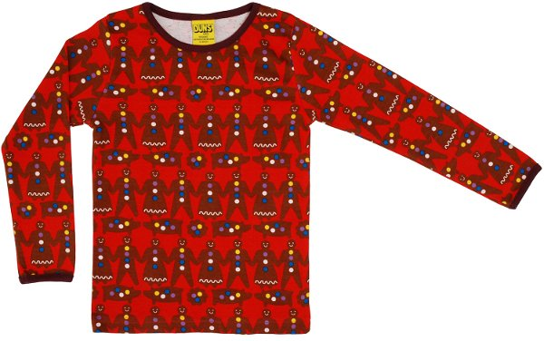 DUNS Gingerbread Man Red LS Top