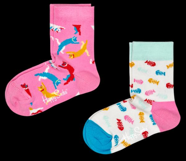 Happy Socks 2 Pack Cat Socks